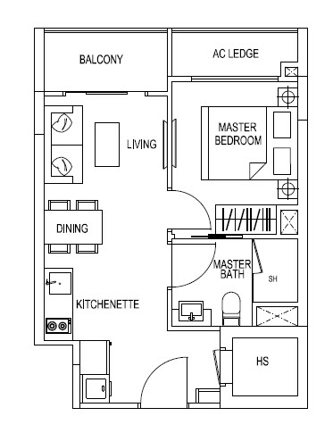 1 Bedroom - 431sqft