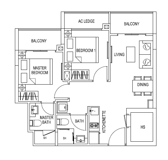 2 Bedroom - 614sqft